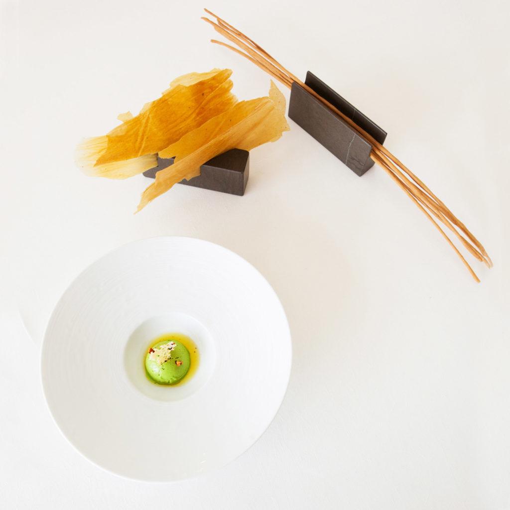 esperienze di gusto al Reale ristorante di Niko Romito. Il sorbetto di piselli